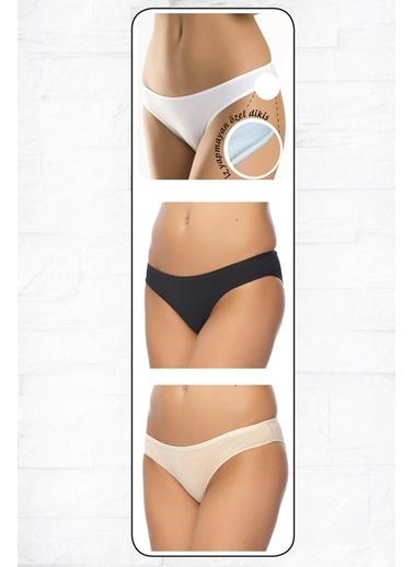 Anıl Kadın Pamuklu Bikini 3'Lü İz Belli Etmez Paket Slip Külot  Beyaz